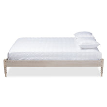 Baxton Studio Cielle French Bohemian Antique White Oak Finished Wood Full Size Platform Bed Frame