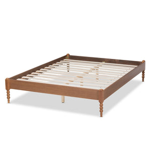 Baxton Studio Cielle French Bohemian Ash Walnut Finished Wood Queen Size Platform Bed Frame