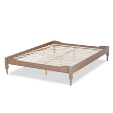 Baxton Studio Laure French Bohemian Antique Oak Finished Wood Queen Size Platform Bed Frame