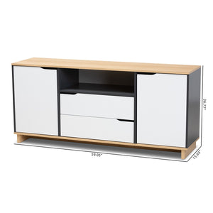 Baxton Studio Reed Mid-Century Modern Multicolor 2-Door Wood Dining Room Sideboard