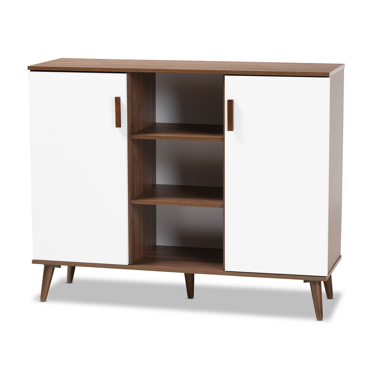 Baxton Studio Quinn Mid-Century Modern Two-Tone White and Walnut Finished 2-Door Wood Dining Room Sideboard Baxton Studio- Sideboards and Servers-Minimal And Modern - 1