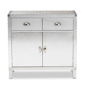 Baxton Studio Romain French Industrial Silver Metal 2-Door Accent Storage Cabinet