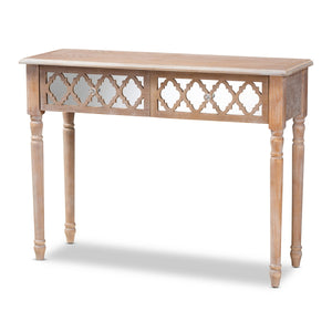 Baxton Studio Celia Transitional Rustic French Country White-Washed Wood and Mirror 2-Drawer Quatrefoil Console Table Baxton Studio-side tables-Minimal And Modern - 1