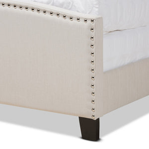 Baxton Studio Morgan Modern Transitional Beige Fabric Upholstered Queen Size Panel Bed