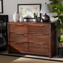 Baxton Studio Torres Modern and Contemporary Brown Oak Finished 6-Drawer Wood Dresser