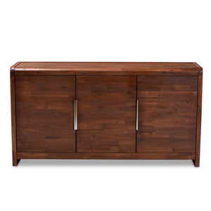 Baxton Studio Torres Modern and Contemporary Brown Oak Finished 3-Door Wood Sideboard Buffet