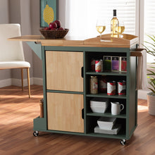 Baxton Studio Dorthy Coastal and Farmhouse Two-tone Dark Green and Natural Wood Kitchen Storage Cart