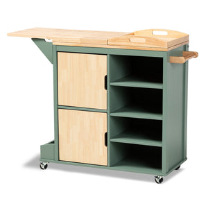 Baxton Studio Dorthy Coastal and Farmhouse Two-tone Dark Green and Natural Wood Kitchen Storage Cart Baxton Studio-Trolleys and Carts-Minimal And Modern - 1
