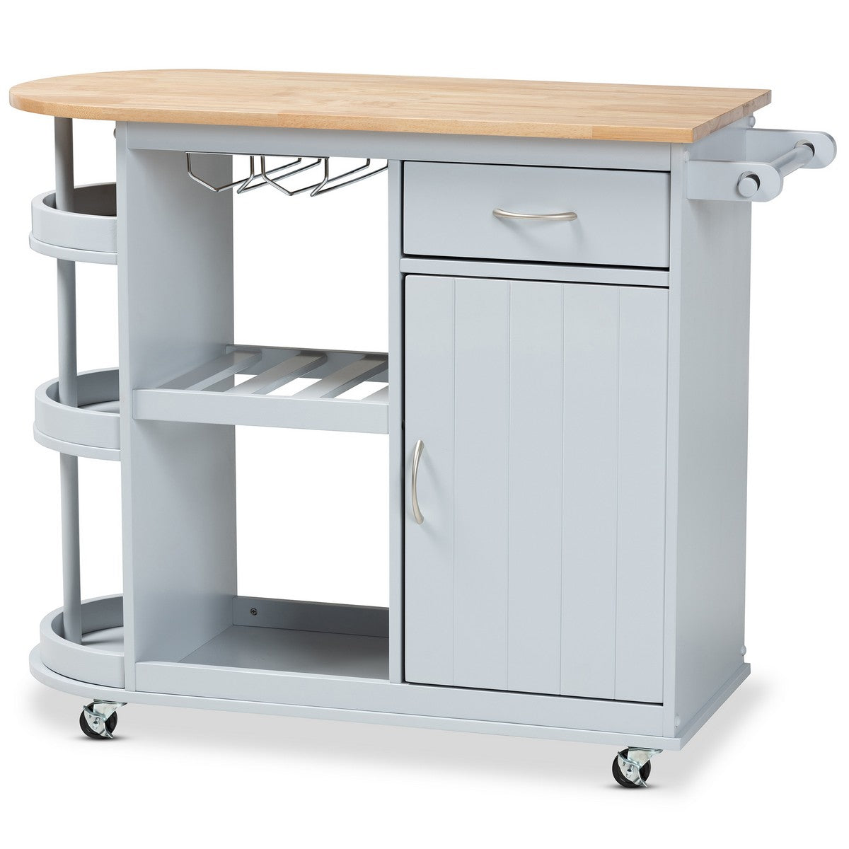 Baxton Studio Donnie Coastal and Farmhouse Two-Tone Light Grey and Natural Finished Wood Kitchen Storage Cart Baxton Studio-Trolleys and Carts-Minimal And Modern - 1