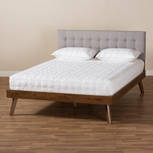 Baxton Studio Devan Mid-Century Modern Light Grey Fabric Upholstered Walnut Brown Finished Wood Queen Size Platform Bed
