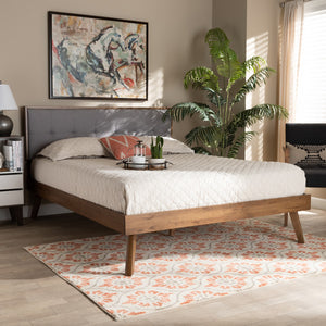 Baxton Studio Alke Mid-Century Modern Light Grey Fabric Upholstered Walnut Brown Finished Wood Full Size Platform Bed