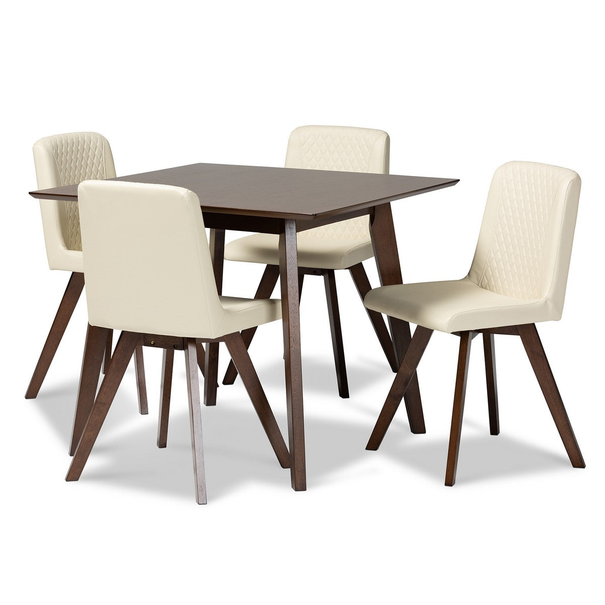Baxton Studio Pernille Modern Transitional Cream Faux Leather Upholstered Walnut Finished Wood 5-Piece Dining Set Baxton Studio-Dining Sets-Minimal And Modern - 1