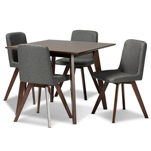 Baxton Studio Pernille Modern Transitional Grey Fabric Upholstered Walnut Finished Wood 5-Piece Dining Set Baxton Studio-Dining Sets-Minimal And Modern - 1