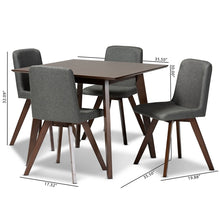 Baxton Studio Pernille Modern Transitional Grey Fabric Upholstered Walnut Finished Wood 5-Piece Dining Set