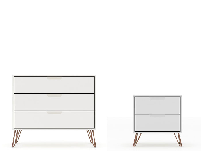 Manhattan Comfort Rockefeller Mic Century- Modern Dresser and Nightstand with Drawers- Set of 2 in WhiteManhattan Comfort-Dresser- - 1