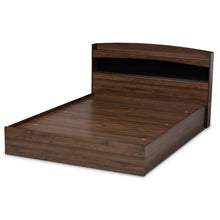Baxton Studio Christopher Modern and Contemporary Rustic Walnut Brown Finished Wood Queen Size Platform Bed with Shelves