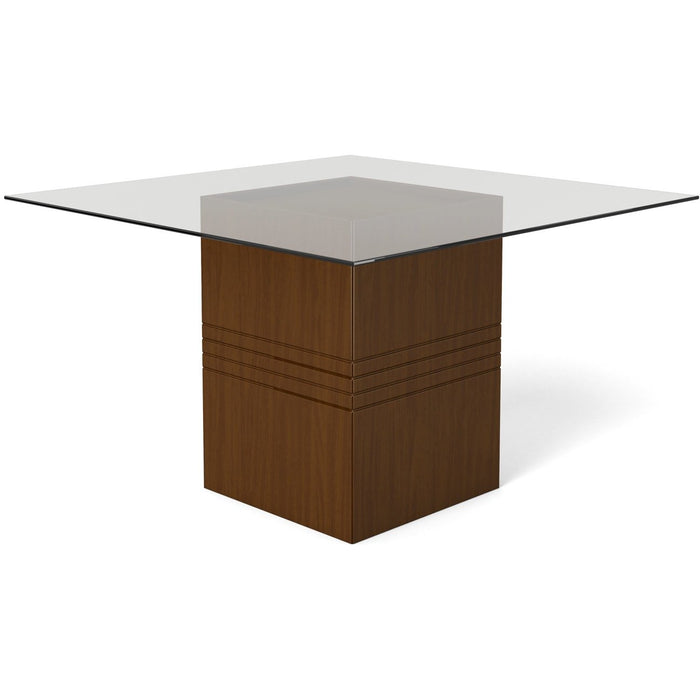 Manhattan Comfort Perry 1.8 - 55.12 in Sleek Tempered Glass Table Top in Nut Brown-Minimal & Modern