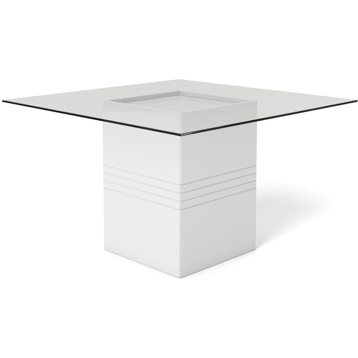 Manhattan Comfort Perry 1.8 - 55.12 in Sleek Tempered Glass Table Top in White Gloss-Minimal & Modern