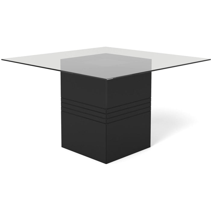 Manhattan Comfort Perry 1.8 - 55.12 in Sleek Tempered Glass Table Top in Black Gloss-Minimal & Modern