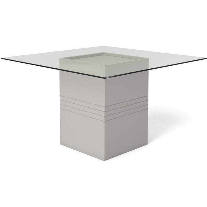 Manhattan Comfort Perry 1.8 - 55.12 in Sleek Tempered Glass Table Top in Off-White-Minimal & Modern
