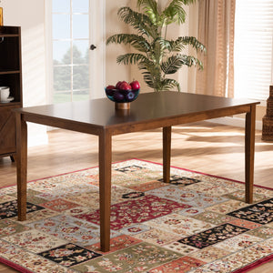 Baxton Studio Eveline Modern and Contemporary Walnut Brown Finished Rectangular Wood Dining Table