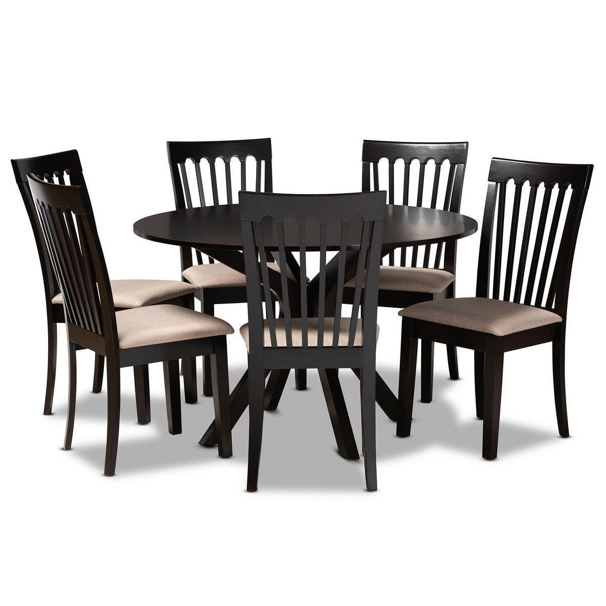 Baxton Studio Lore Modern and Contemporary Sand Fabric Upholstered and Dark Brown Finished Wood 7-Piece Dining Set Baxton Studio-Dining Sets-Minimal And Modern - 1