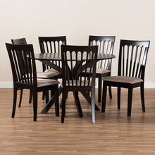 Baxton Studio Lore Modern and Contemporary Sand Fabric Upholstered and Dark Brown Finished Wood 7-Piece Dining Set