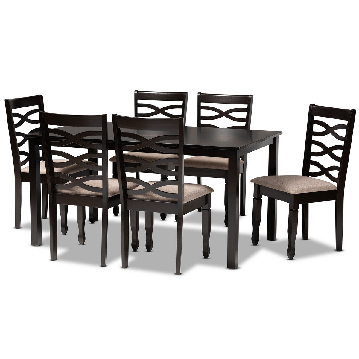 Baxton Studio Lanier Modern and Contemporary Sand Fabric Upholstered Dark Brown Finished Wood 7-Piece Dining Set Baxton Studio-Dining Sets-Minimal And Modern - 1