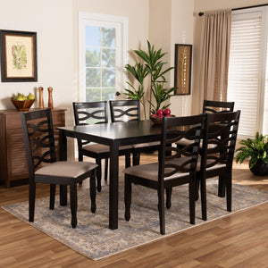 Baxton Studio Lanier Modern and Contemporary Sand Fabric Upholstered Dark Brown Finished Wood 7-Piece Dining Set