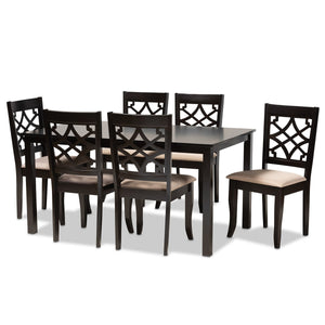 Baxton Studio Mael Modern and Contemporary Sand Fabric Upholstered and Espresso Brown Finished Wood 7-Piece Dining Set Baxton Studio-Dining Sets-Minimal And Modern - 1