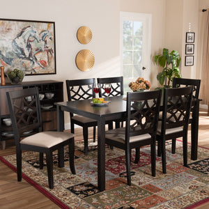 Baxton Studio Mael Modern and Contemporary Sand Fabric Upholstered and Espresso Brown Finished Wood 7-Piece Dining Set