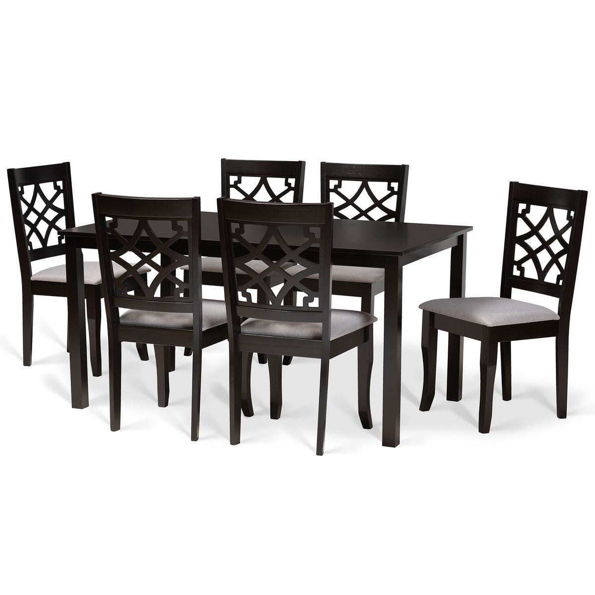 Baxton Studio Mael Modern and Contemporary Grey Fabric Upholstered and Dark Brown Finished Wood 7-Piece Dining Set Baxton Studio-Dining Sets-Minimal And Modern - 1