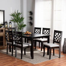 Baxton Studio Mael Modern and Contemporary Grey Fabric Upholstered and Dark Brown Finished Wood 7-Piece Dining Set