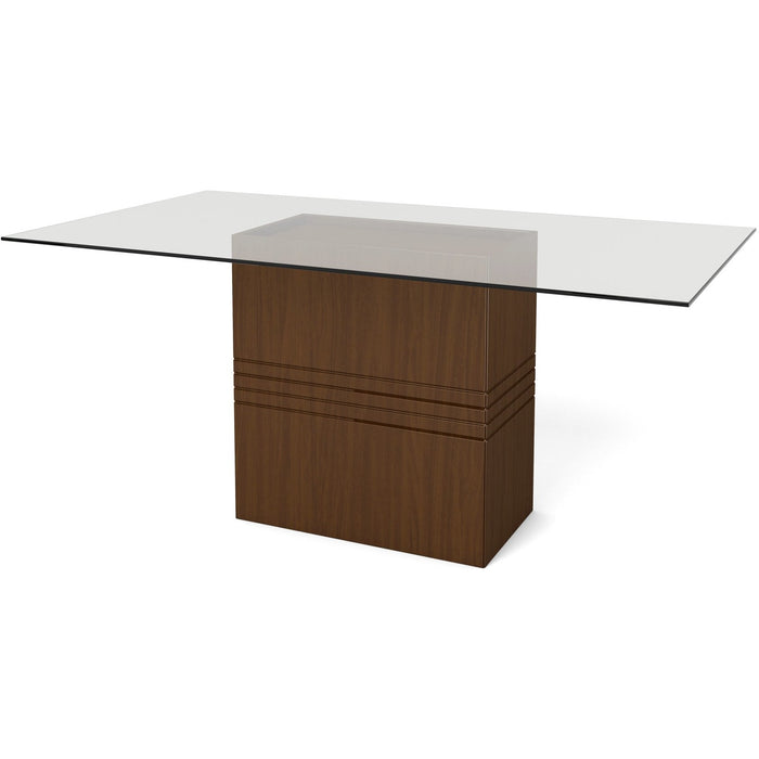 Manhattan Comfort Perry 1.6 - 70.87 in Sleek Tempered Glass Table Top in Nut Brown-Minimal & Modern