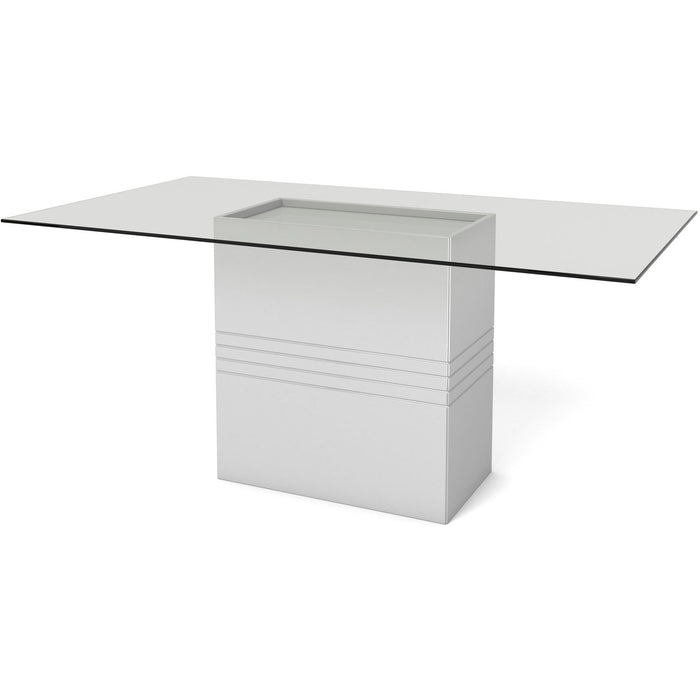 Manhattan Comfort Perry 1.6 - 70.87 in Sleek Tempered Glass Table Top in White Gloss-Minimal & Modern