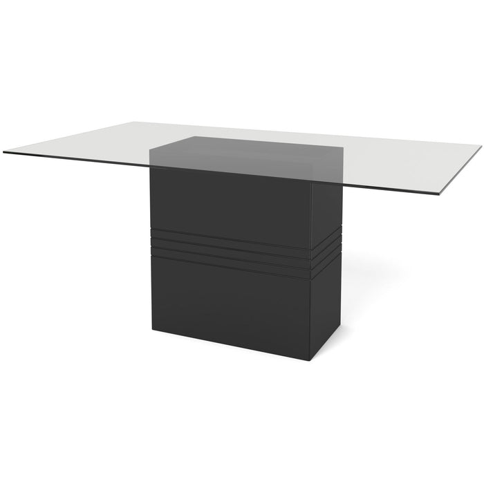 Manhattan Comfort Perry 1.6 - 70.87 in Sleek Tempered Glass Table Top in Black Gloss-Minimal & Modern