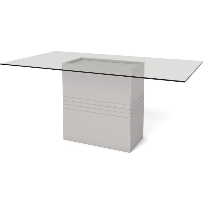 Manhattan Comfort Perry 1.6 - 70.87 in Sleek Tempered Glass Table Top in Off-White-Minimal & Modern