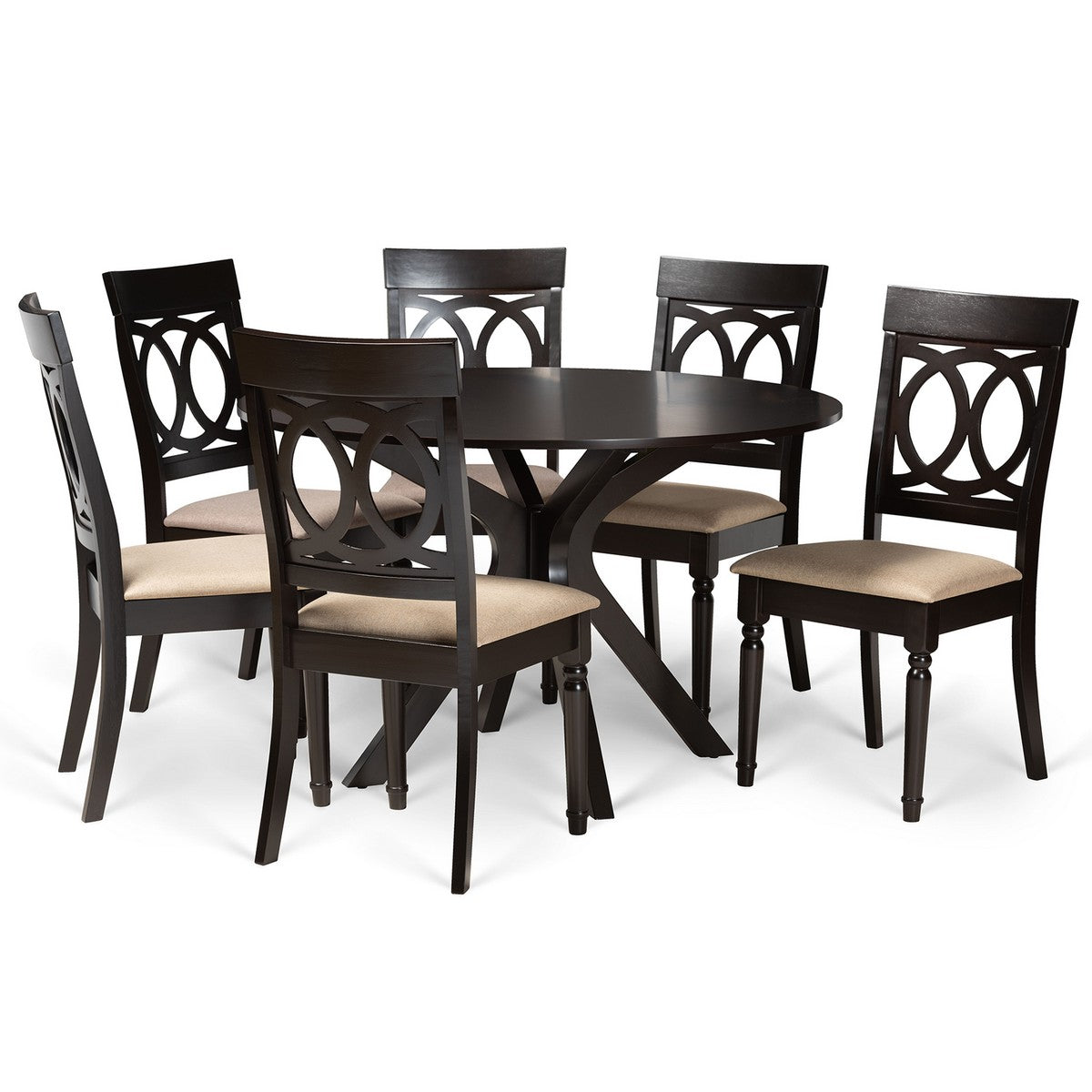 Baxton Studio Jessie Modern and Contemporary Sand Fabric Upholstered and Dark Brown Finished Wood 7-Piece Dining Set Baxton Studio-Dining Sets-Minimal And Modern - 1