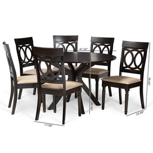 Baxton Studio Jessie Modern and Contemporary Sand Fabric Upholstered and Dark Brown Finished Wood 7-Piece Dining Set
