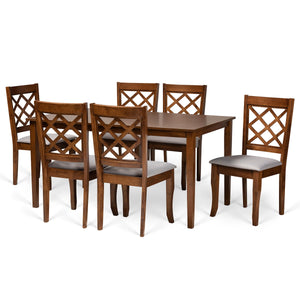 Baxton Studio Verner Modern and Contemporary Grey Fabric Upholstered and Walnut Brown Finished Wood 7-Piece Dining Set Baxton Studio-Dining Sets-Minimal And Modern - 1