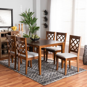 Baxton Studio Verner Modern and Contemporary Grey Fabric Upholstered and Walnut Brown Finished Wood 7-Piece Dining Set