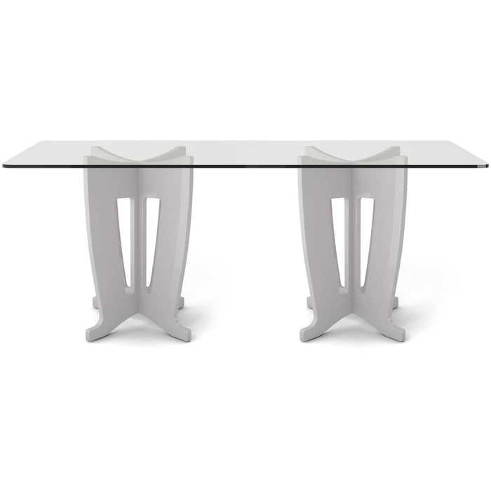 Manhattan Comfort Jane 2.0 -78.64 in Sleek Tempered Glass Table Top in Off-White-Minimal & Modern