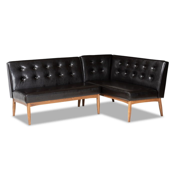 Baxton Studio Arvid Mid-Century Modern Dark Brown Faux Leather Upholstered 2-Piece Wood Dining Nook Banquette Set Baxton Studio-benches-Minimal And Modern - 1