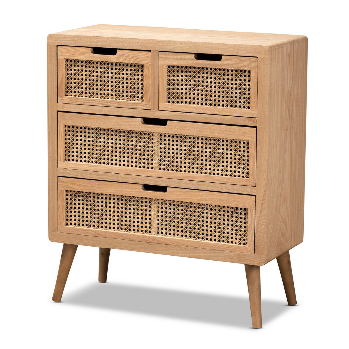 Baxton Studio Alina Mid-Century Modern Medium Oak Finished Wood and Rattan 4-Drawer Accent Chest Baxton Studio-Chests-Minimal And Modern - 1