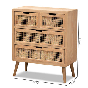 Baxton Studio Alina Mid-Century Modern Medium Oak Finished Wood and Rattan 4-Drawer Accent Chest