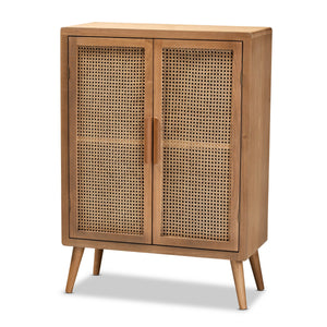 Baxton Studio Alina Mid-Century Modern Medium Oak Finished Wood and Rattan 2-Door Accent Storage Cabinet Baxton Studio-Multipurpose Shelving and Cabinets-Minimal And Modern - 1
