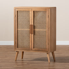 Baxton Studio Alina Mid-Century Modern Medium Oak Finished Wood and Rattan 2-Door Accent Storage Cabinet