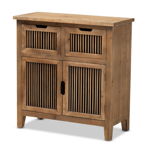 Baxton Studio Clement Rustic Transitional Medium Oak Finished 2-Door and 2-Drawer Wood Spindle Accent Storage Cabinet Baxton Studio-Multipurpose Shelving and Cabinets-Minimal And Modern - 1