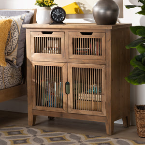 Baxton Studio Clement Rustic Transitional Medium Oak Finished 2-Door and 2-Drawer Wood Spindle Accent Storage Cabinet