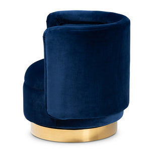 Baxton Studio Saffi Glam and Luxe Royal Blue Velvet Fabric Upholstered Gold Finished Swivel Accent Chair